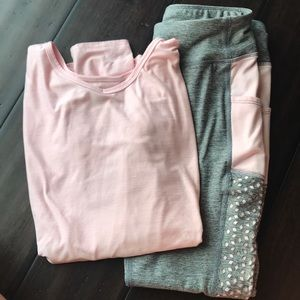 Pink and gray athletic outfit